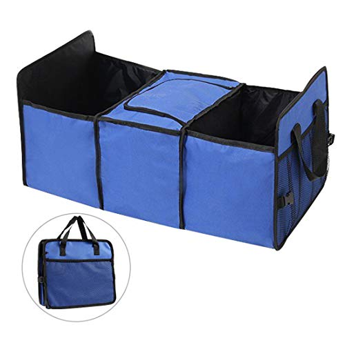 TYSKL Car Trunk Organizer - Best for SUV, Vehicle, Truck, Grocery, Home & Garage - with Premium Insulation Cooler Bag - Foldable Mesh Receiving Bag (Blue with net Pocket, 23.6 x 11x 12.5 inches)