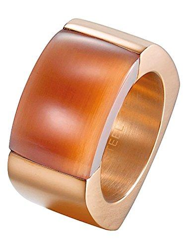 Joop! Damen-Ring Edelstahl Quarz rot Rechteckschliff Gr. 56 (17.8) - JPRG10614D190