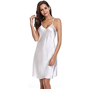 Vlazor Women Negligees Satin Nightdress Spaghetti Strap Chemises Slip V Neck Sleepwear Nightgown:Priorcastleinnvictoria