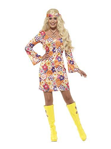 Smiffys 45520S - Damen Blumen Hippie Kostüm, Kleid, Haarband und Medaillon, Größe: 36-38, mehrfarbig