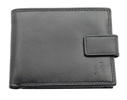Starhide#1180-morbida, in pelle a portafoglio, con cerniera e tasca ultrasottile in pelle con finestra per l'identificazione, in scatola, nero e grigio (Multicolore) - 1180