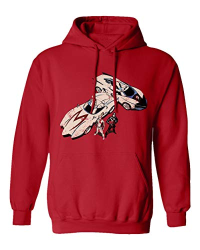 RIVEBELLA New Graphic Shirt Anime Racer X Novelty Tee Speed Manga Men's Hoodie Hooded Sweatshirt (Red, 3XL)