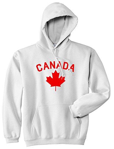 Canada Maple Leaf Red Mens Pullover Hoodie Medium White