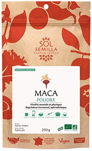 Maca Bio - Mace poudre Pure - Maca Crue | 250g | Sol Semilla - Haute Qualité