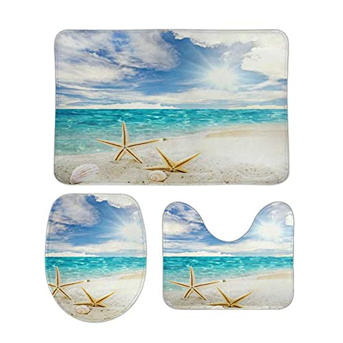 Starfish Shells Beach Sky Bathroom Rugs 3 Pieces Set Coral Fleece Bath Carpet Mat Contour Mat Toilet Lid Cover Soft Non Slip Absorbent Machine Washable for Tub Shower