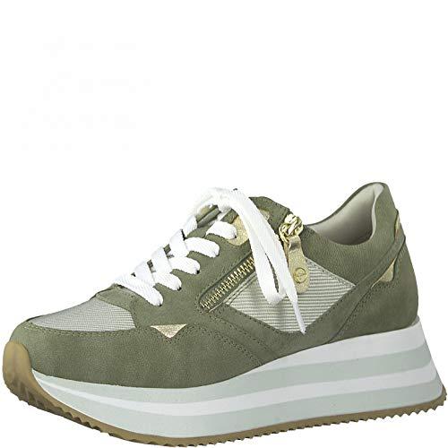 Tamaris Mujer Zapatillas, señora Bajo,Plantilla Desmontable,Plataforma de la Suela,Zapato bajo,Zapato de Calle,Cordones,Olive Comb,37 EU / 4 UK