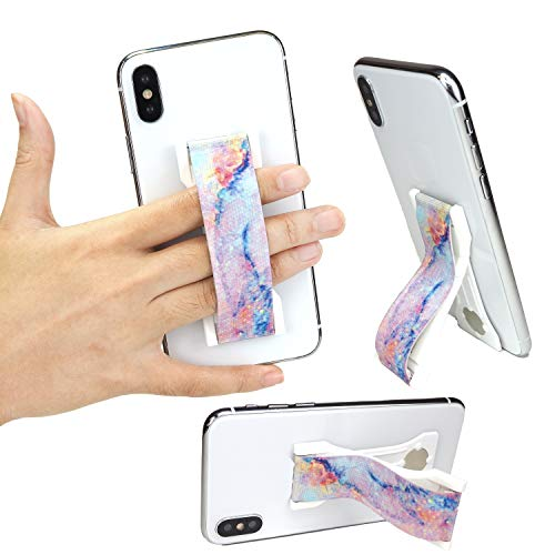 LoveHandle PRO Magic Marble - Premium Cell Phone and Tablet Grip with Swappable Strap, Cell Phone Stand - a Kickstand and Internal Magnets to Mount on Compatible Metal Surfaces - Made in USA