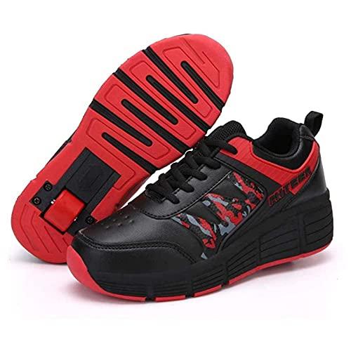 ZZX Patinaje sobre Ruedas Niños Niñas Zapatos Tecnología Retráctil Patineta Cinturón Ruedas Niñas Niños Multideportes Zapatillas Gimnasia Al Aire Libre,Red-40