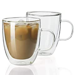 DOUBLE WALLED DESIGN - The double layer glass mug set keep hotter and colder than the normal single walled glass and ceramic mugs. Cool to touch, without burning fingers CLEAR BOROSILICATE GLASS - 100% lead free. Sweese glass cups is make of mouth-bl...