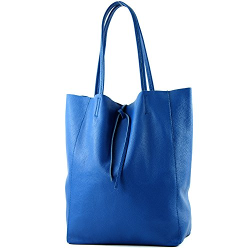 modamoda de - T163 - Ital. Shopper mit Innentasche aus Leder, Farbe:Blau