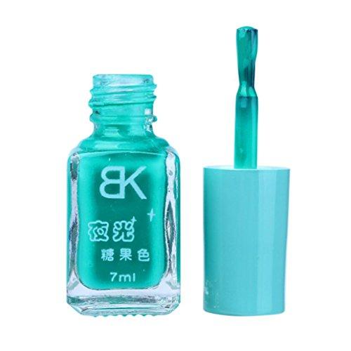 Zarupeng 20 Farben Leuchtender Nagellack, Glitter Fluorescent Neon Luminous Gel Nagellack für Glow in Dark (One Size, F)
