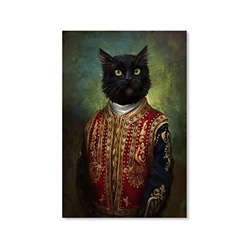 N / A Klassischer Stil Die Schwarze Katze trägt Vintage Kleidung Leinwand Malerei Poster und Drucke Wandbilder für Wohnzimmer Dekoration 50x70CM N Rahmen