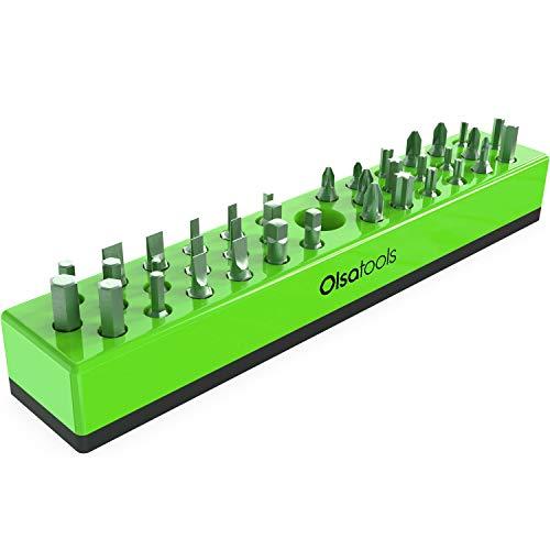 Olsa Tools | Organizador de Brocas hexagonales con Base magnética | Soporte de Brocas hexagonales especialidad, Taladro o Brocas de Tamper (Verde)