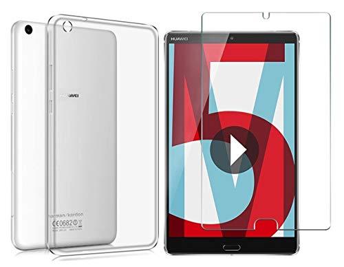 Domxteck (Paquete de 2 en 1) Funda Protectora de Silicona TPU Transparente + Protector de Pantalla 9H para Huawei MediaPad M5 8.4