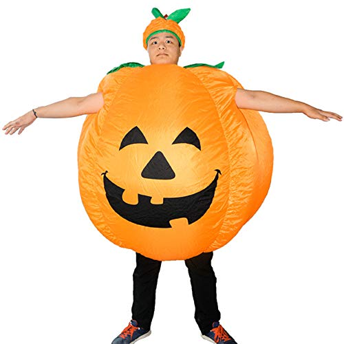 ZSGG Costume de Citrouille dHalloween Gonflable déguisement Orange Combinaison Adulte Halloween Cosplay Tenue Cadeau