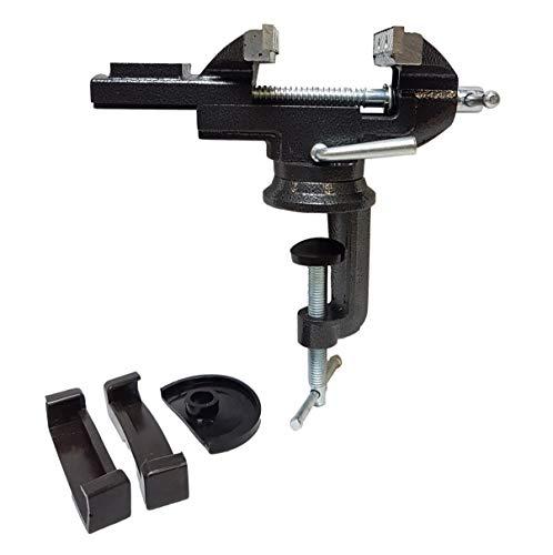 80mm - Schraubstock mit Schutzbacken | Werkbankschraubstock mit 360° Drehteller | Tischschraubstock [Farbe-schwarz] für Werkbankmontage | Amboss Werkbank