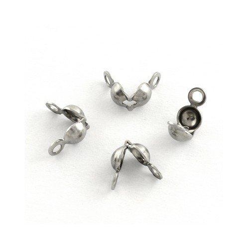 Charming Beads Pacco 30 x Argento Acciaio Inossidabile 4 x 6mm Coprinodo - (Y01610)