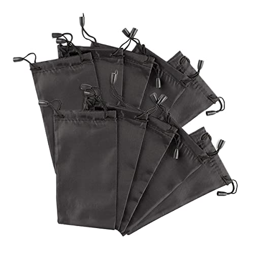 Bolsa de almacenamiento para gafas, cordón portátil, impermeable, para gafas de sol, 10 unidades, color negro