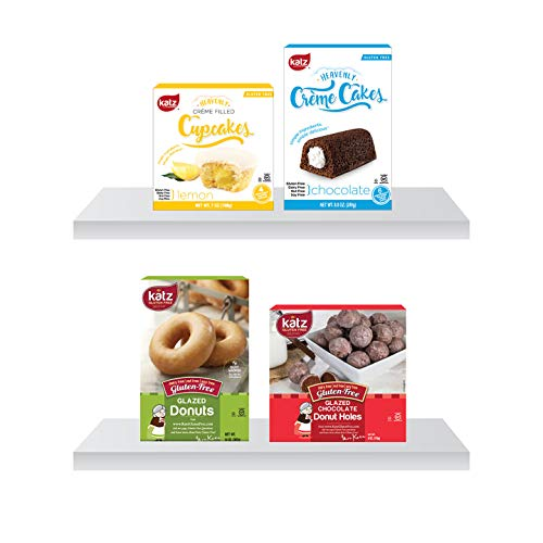 Katz Gluten Free Snacks Top 4 Sellers | Gluten Free, Dairy Free, Soy Free, Nut Free | Glazed Donut, Chocolate Creme Cake, Lemon Creme Cupcake, Glazed Chocolate Donut Holes (1 Pack of each, 4 Total)
