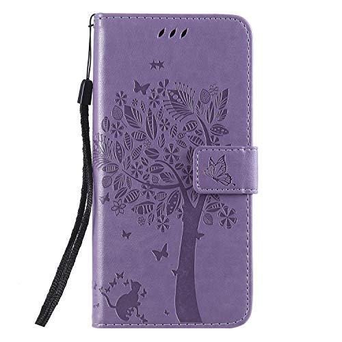 Miagon für Samsung Galaxy A20 Geldbörse Wallet Case,PU Leder Baum Katze Schmetterling Flip Cover Klapphülle Tasche Schutzhülle mit Magnet Handschlaufe Strap