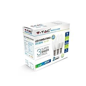 KIT Super Saver Pack V-TAC 3PCS/PACK Lampadine LED Candela 5.5W E14 VT-2076 - SKU 7265 bianco freddo 6400K