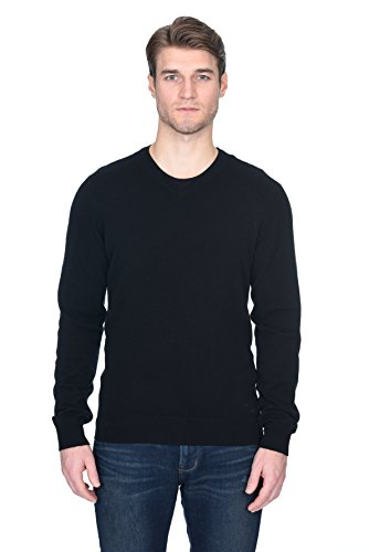 State Fusio Men's Cashmere Wool Long Sleeve Pullover Crew Neck Sweater Premium Quality Black XX-Large