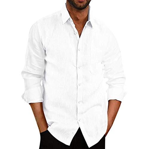 Chemise FNKDOR Homme T-Shirts Bouffant Mélange de Coton Poche Hauts Solide Manche Longue Rétro Tops Blouse(Blanc,S)