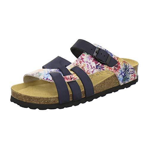 AFS-Schuhe 2122 Damen Pantoletten aus echtem Leder, hochwertige Hausschuhe für Frauen mit Eva-Sohle, Made in Germany (39 EU, Blau/bunt)