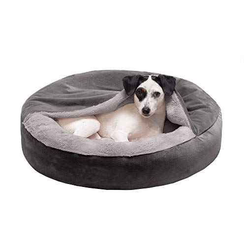 Furhaven Pet Dog Bed - Round Plush Faux Fur Waves and Velvet Ultra Calming Anti-Anxiety Hooded Tufted Pillow Cushion Donut Bolster Pet Bed for Dogs and Cats, Dark Gray, Small