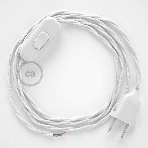 creative cables Cordon pour Lampe, câble TM01 Effet Soie Blanc 1,80 m. Choisissez la Couleur de la fiche et de l'interrupteur! - Blan