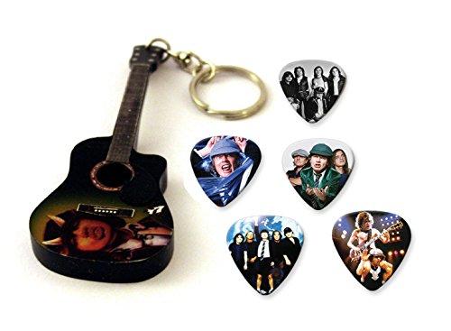 Angus Young ACDC Mini-Gitarren-Keyring&5XPlektren