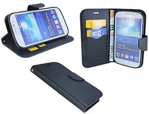 ENERGMiX Buchtasche kompatibel mit Samsung Galaxy Grand Neo i9060 Hülle Case Tasche Wallet BookStyle in Schwarz