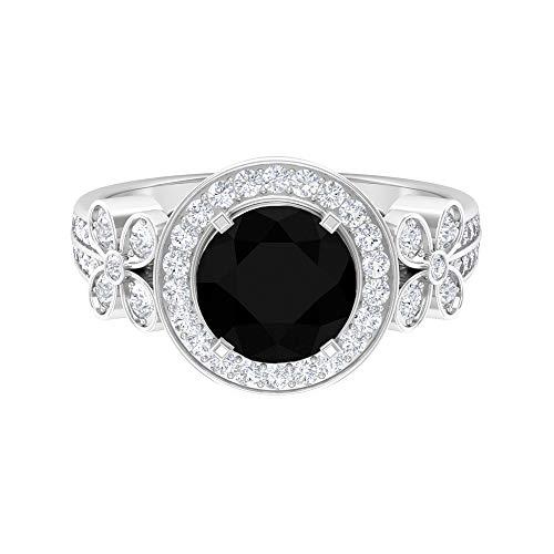 Anillo de halo solitario, 2,87 quilates, anillo de diamante negro, anillo de compromiso con detalles de diamante HI-SI, anillo de compromiso, 14K Oro blanco, Size:EU 50