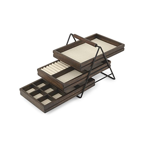 Umbra 1004037-048 Terrace Jewelry Tray – Three-Tier Jewelry Tray With Three Sliding Linen Lined Wood Trays With Metal Frame and Handle, Easy Storage and Access, Black/Walnut Finish
