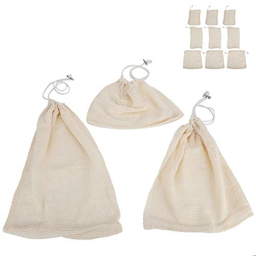9Pcs Reusable Mesh Produce Bags, Washable Fruit Vege Grocery Bag for Fruit, Vegetable Drawstring Bags