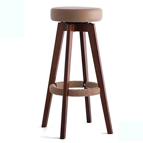 Tabouret haut, tabouret de barre en bois plein à la maison, chaise européenne moderne de rotation simple, tabouret de barre (Couleur : Bronze, taille : 45 * 45 * 65.5cm)