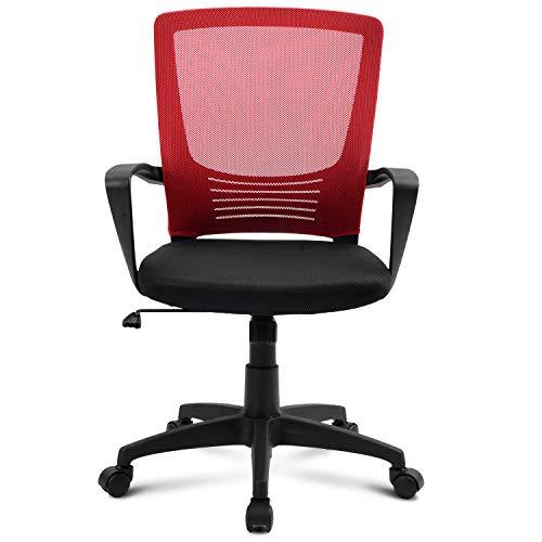 Merax Bürostuhl, Schreibtischstuhl, Chefsessel sitzkomfort Bürodrehstuhl Computertischstuhl mit Rückenlehne, drehbarer, Höhenverstellung, Armlehne und ergonomischer Tailestütze (Rot)