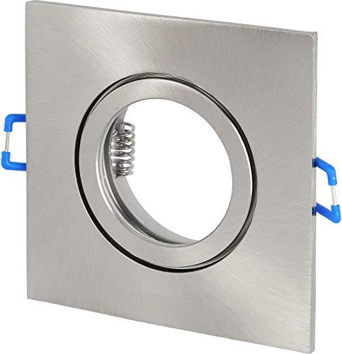 Spot IP44 Aluminium Einbaustrahler eckig - mit Klickverschluss und Glasabdeckung - für Feuchtraum Bad - eisengebürstet