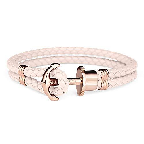 PAUL HEWITT Anker Armband Damen PHREP - Segeltau Armband Frauen, Leder Armband Damen (Rosa) mit Anker Schmuck aus IP-Edelstahl (Rosegold)