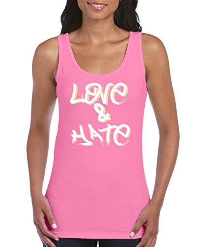 Comedy Shirts - Love & Hate - Damen Tank Top - Pink/Beige-Weiss Gr. L