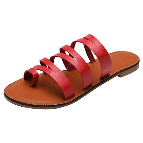 catmoew Damen Zehen Sandalen Sommer Casual rutschfest Prise Strand Pantoffeln Rom Plus Größe Flache Hausschuhe Draussen Beiläufig Strandpantoffeln