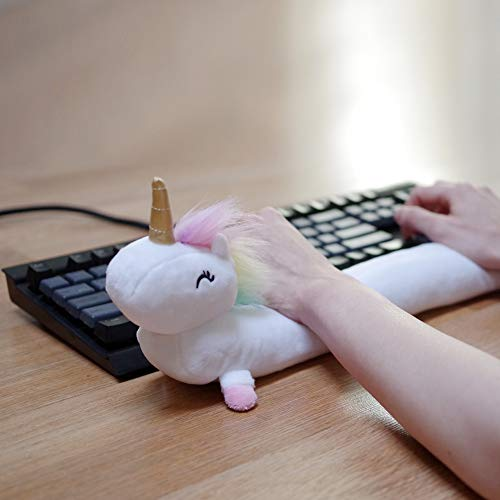 Unicorn Ergonomic Keyboard Wrist Rest 19', Plush Material, Full Standard Size (Rainbow)