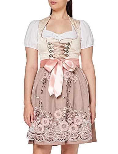 Fuchs Trachtenmoden Damen Kleid, Mehrfarbig (Champagner/Rose), 44