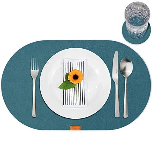 mokinu - 6er Filz Tischset inkl. Glas-Untersetzer - Premium Platzdeckchen, Set für 6 Personen, Design Platzset oval, abwaschbare Tischuntersetzer Petrol