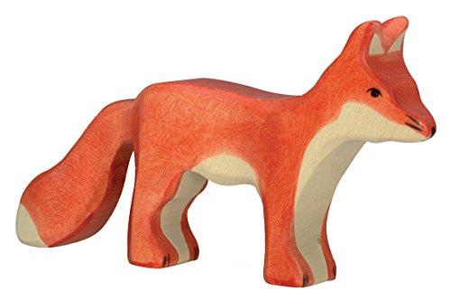 cama24com Fuchs stehend Holzfigur Holzspielzeug von Holztiger mit Palandi® Sticker