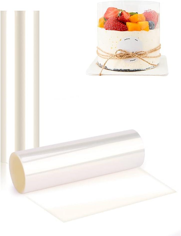 Vegena Transparente Rollo de Pasteleria, 2 Rollos de Acetato Transparente Pastel Transparente Collares De Pastel para Decoración de Repostería Pasteleria Chocolate Mousse(15cm*10m, 20cm *10m)