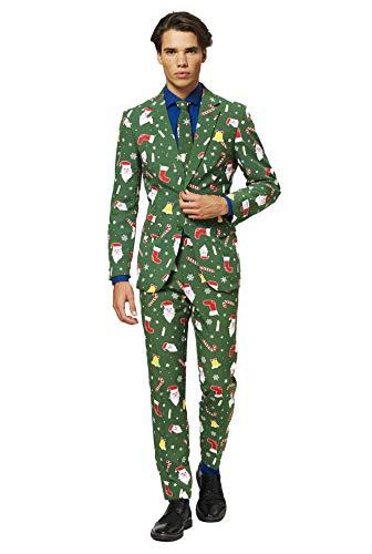 OppoSuits Weihnachtsanzüge für Herren – Besteht aus Sakko, Hose und Krawatte, Santaboss, 58 EU