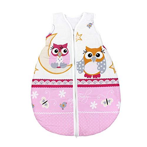 TupTam Unisex Baby Schlafsack ohne Ärmel Wattiert, Farbe: Eulen Rosa, Größe: 62-74