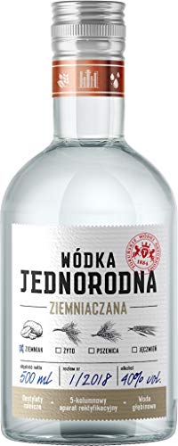 Single Grain Vodka Jednorodna, Kartoffel-Wodka aus Polen, 0,5 L, 40% Vol.