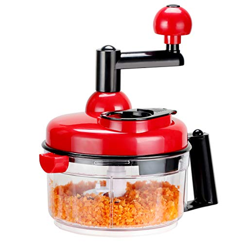 KEOUKE Onion Chopper Food Chopper- Hand Crank Food Processor Chops chili, Vegetable, Nuts, Fruits, Salad with a Egg Separator